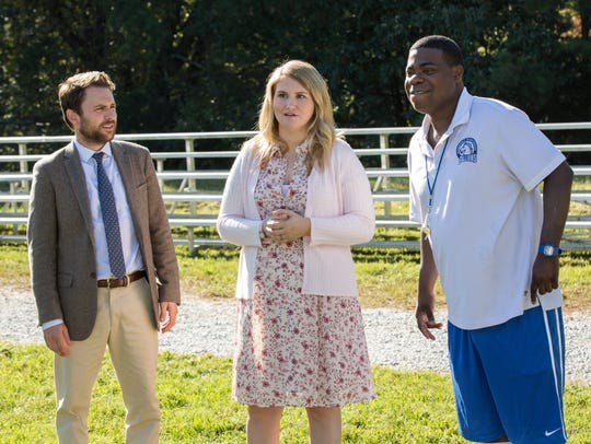 Charlie Day (from left), Jillian Bell and Tracy Morgan