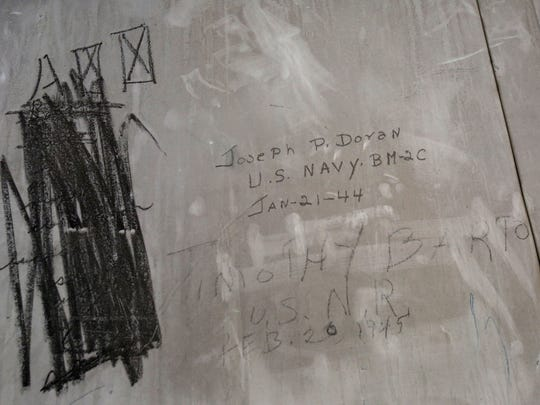 A navy veteran's signature from 1944 on the original freight elevator of the Poughkeepsie Underwear Factory Feb. 13, 2017. The former factory is being redeveloped as a mixed use building by the Hudson River Housing.