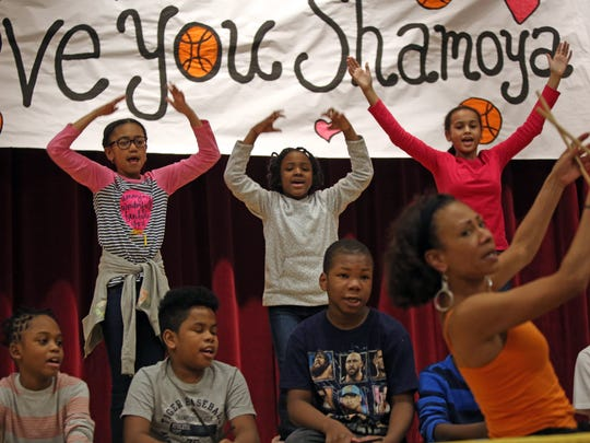 Students at Graham Elementary school participate in African dance during Parent Involvement Day in Mount Vernon.