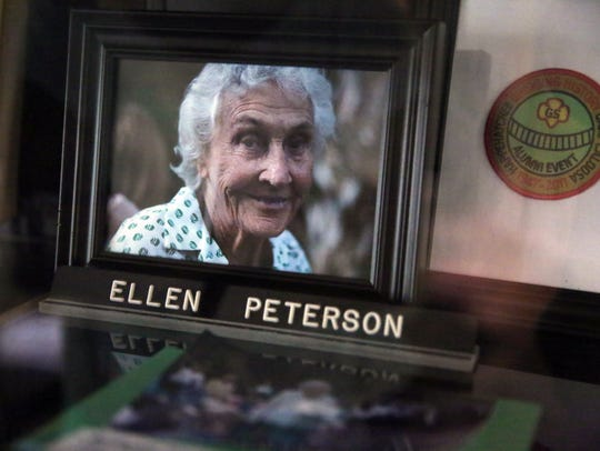 A photograph of Ellen Peterson sits inside the historic
