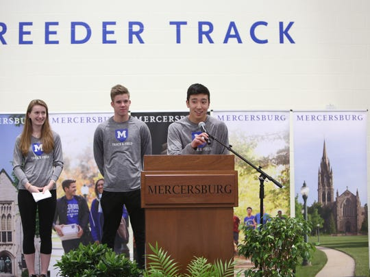 Mercersburg Academy indoor track & field co-captains (from left) Finley Stewart, Felix Eckert, and Garrett Noone address the crowd at the dedication of the Hale Field House.