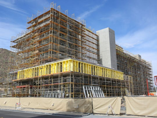 Construction continues on the Kimpton Hotel and the downtown revitalization project in Palm Springs on Feb. 10, 2017.