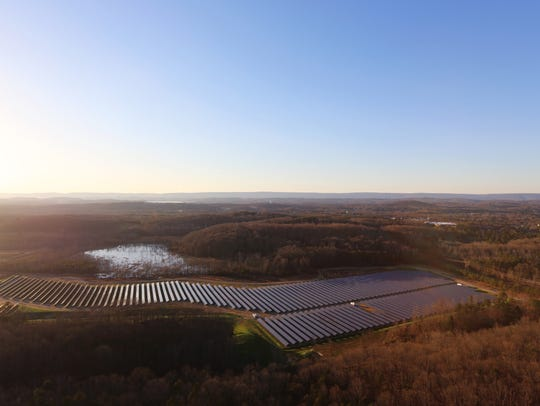 An aerial view of the 9.5 megawatt solar farm on the
