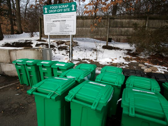 The Food Scrap Recycling collection center at the Scarsdale