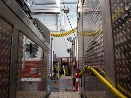 Trucks are parked in the newly constructed bay Thursday, Feb. 16, 2017 at Kimball Fire Station 1.