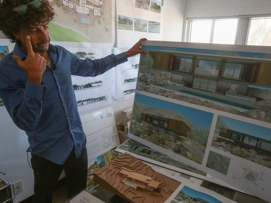 Palm Springs Architect Lance O'Donnell with renderings for the Beadle house in the offices of o2 Architecture on Thursday, January 26, 2017 in Palm Springs.