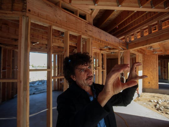 Palm Springs architect Lance O'Donnell at the site of a custom home his firm is building on Thursday, January 26, 2017 in Palm Springs.