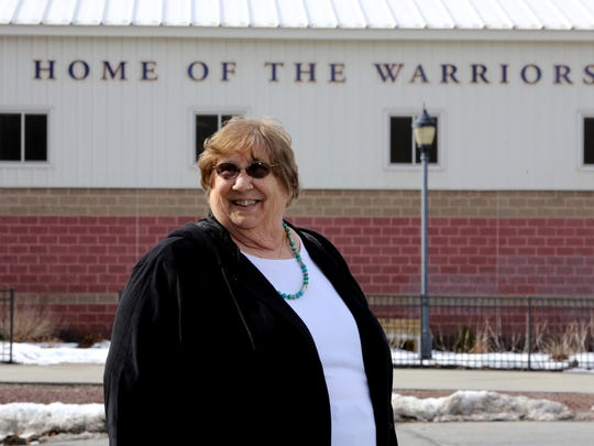 Kathy Kelly, who was the first female Athletic Director in at Our Lady of Lourdes High School in Poughkeepsie, photographed outside the school athletic complex Feb. 21, 2017. Kelly, who retired 17 years ago, was also the first female athletic director in Duchess County.