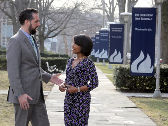 Kevin Cavanagh, Executive Vice President for Strategy and Planning at the College of New Rochelle, and Gwen Adolph, Chair of the college's board of trustees, photographed on the campus Feb. 22, 2017. They spoke about the fact that the school almost had to close due to the recent financial crisis, and about the path that is leading them out of the current situation.