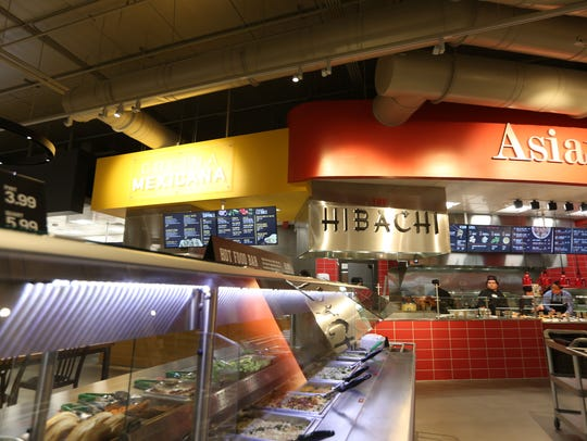 Food stands at the new Des Moines downtown Hy-Vee,
