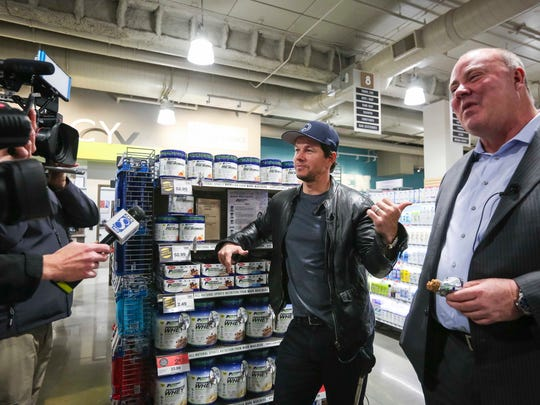 Actor/producer Mark Wahlberg makes an appearance at the new downtown Fourth and Court Hy-Vee store Thursday February 23, 2017, in Des Moines, Iowa, to promote his workout supplement.