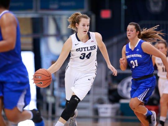 Butler University sophomore Tori Schickel dribbles