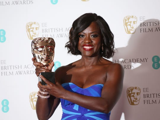 Actress Viola Davis poses with the BAFTA award for Best Supporting Actress for her role in the film 'Fences' at the British Academy Film Awards in London, Sunday, Feb. 12, 2017.