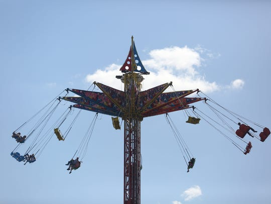 The Sky Flyer is a swing ride that spins you in a circle almost 100 feet off the ground.
