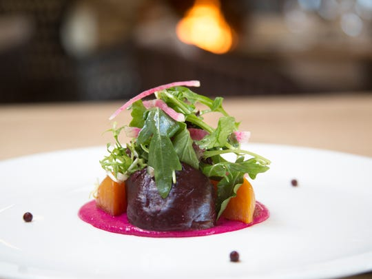 A beet salad is served at Essense at Two Bunch Palms Resort.