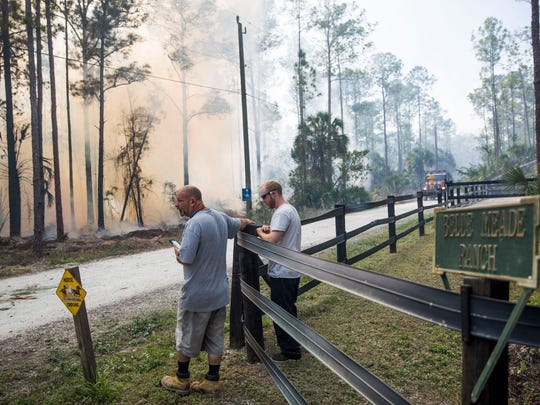 A brush fire burns across the street from Belle Meade Ranch in eastern Collier County on Tuesday, March 7, 2017.