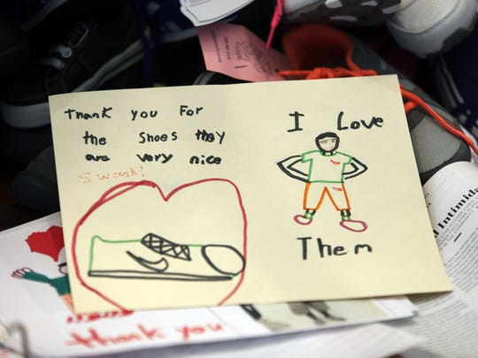 """A """"thank you"""" note from a Laces of Love recipient. Every year, the local nonprofit donates new shoes to children in need in Collier and Lee counties."""