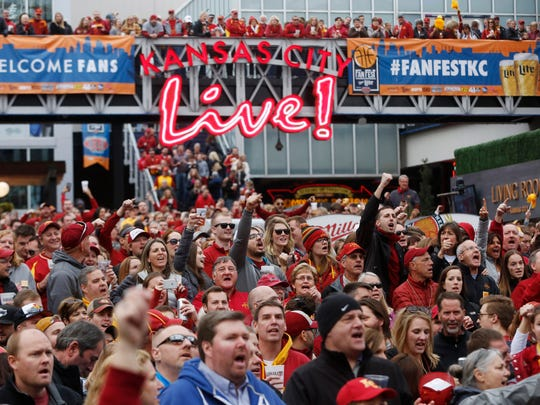 Cyclone fans fill the Power & Light District Friday, March 10, 2017 at a pep rally before Iowa State takes on TCU in the semifinals of the Big 12 Men's Basketball Championship in Kansas City.