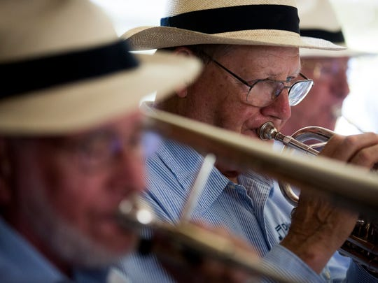 Members of the Naples Dixieland Jazz band play during the Naples Jazz Society's 21st annual get-together Saturday, March 11, 2017 in Naples.
