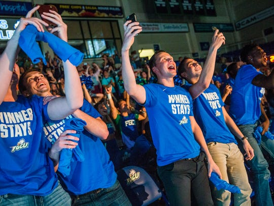 FGCU men's basketball team reacts to the announcement of who they will be playing in the NCAA tournament in Alico Arena on Sunday, March 12, 2017. FGCU plays Florida State in Orlando.