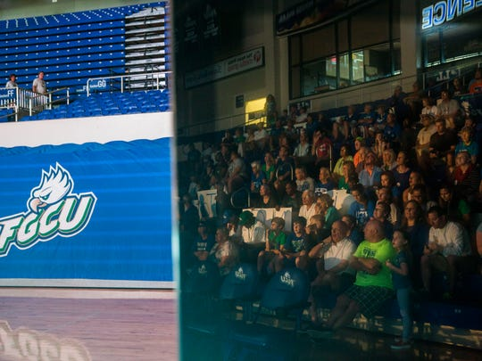 Fans watch as FGCU men's basketball team waits for the announcement of who they will be playing in the NCAA tournament in Alico Arena on Sunday, March 12, 2017. FGCU plays Florida State in Orlando.