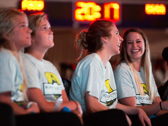 Taylor Gradinjan, right, laughs with her teammate while watching the NCAA tournament selection show on Monday, March 13, 2017 in Alico Arena. FGCU, a No. 13 seed, will play at No. 4 Miami on Saturday.