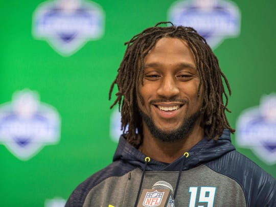 Ohio State Buckeyes free safety Malik Hooker speaks to the media during the 2017 combine at Indiana Convention Center.