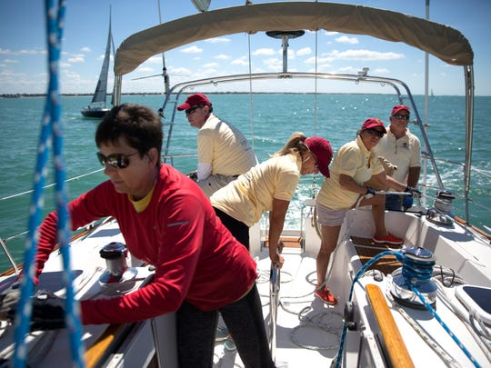 The crew of the Dragonfly practices before starting the race during the first day of the 2017 Gulf Coast Sailing Club Charity Regatta on Saturday, March 18, 2017 off the coast of downtown Naples. 17 boats raced in two separate classes - spinnaker and cruise.