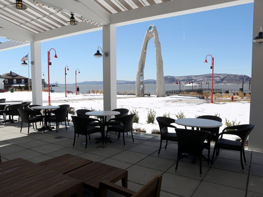 Outdoor seating at 3 Westerly Bar & Grill, a nautical-themed