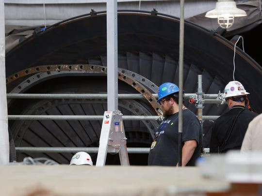 Contractors work on the steam turbines during a routine maintenance of Indian Point 3 at the Energy Indian Point Energy Center in Buchanan on Mar. 20, 2017.