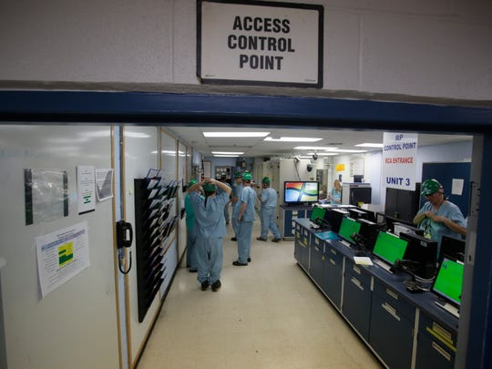 The access control point for Indian Point 3 where workers are equipped with dosimeters and are check out for radiation exposure when exiting the containment building at the Energy Indian Point Energy Center in Buchanan on Mar. 20, 2017.