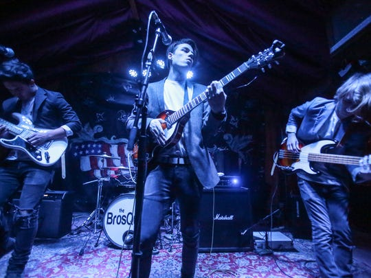 The BrosQuitos perform at Pappy and Harriet's in Pioneertown Thursday, March 23, 2017 during the Tachevah Semifinals Showcase.