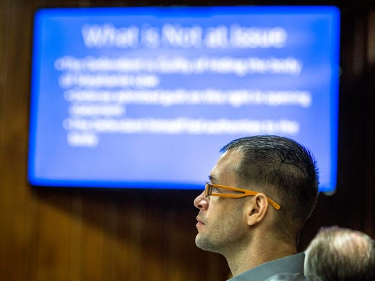 Kristopher Torgerson listens to prosecutor Richard Dufour, as he presents his closing arguments during the Kristopher Torgerson trial on March 24, 2017 in Wausau, Wis.