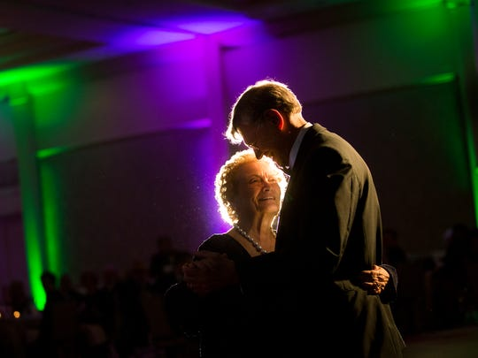 Tom Monaghan and his wife, Marjorie, dance during Tom's 80th birthday celebration at The Ritz-Carlton Golf Resort in North Naples on Saturday, March 25, 2017.