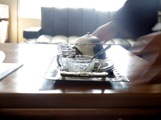 In the visits reporter Nada Hassanein and I pay to the Almasri family, the tea set is a fixture in their living room.