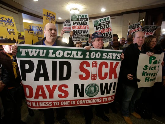 Union officials and Westchester County legislators announced legislation that would mandate employers provide workers with at least 5 paid sick days annually during a press conference at the Westchester County Office building in White Plains on Mar. 27, 2017.   The bill will impact an estimated 123,000 workers in the county.