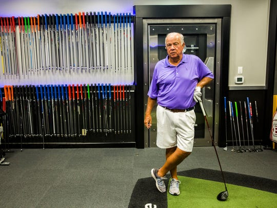 Ed Pappas of Naples, center, comes in for a driver checkup at Tour Fit Golf Labs in Naples at the Tiburón Golf Club on Tuesday, March 28, 2017.
