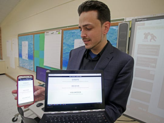 Michael Khekoian, CEO of Computuners of Nanuet is working with students at BOCES PTech in Piermont and Rockland Meals on Wheels on an app which will pair food donors with those who are collecting or are in need of food on Mar. 28, 2017.
