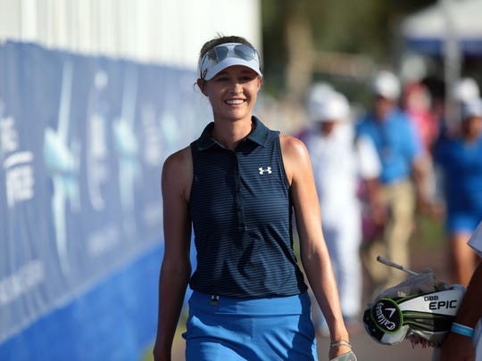 American Nelly Korda ton 18 during the 2nd round of ANA Inspiration Friday, March 31, 2017 in Rancho Mirage.