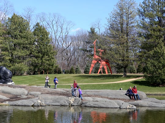 Visitors at the Donald M. Kendall Sculpture Gardens at PepsiCo headquarters in Purchase April 2, 2017. The garden re-opened to the public this weekend after being closed since 2012 while the headquarters underwent a major renovation.