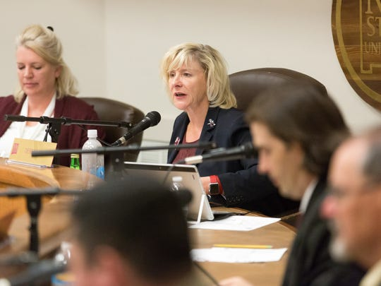 NMSU Board of Regents Chairwoman Debra Hicks speaks during a meeting  on Monday, April 3, 2017, where a possible  6 percent tuition-and-fee increase for students was discussed. If the increase is approved the rate would take effect in the fall of 2017.