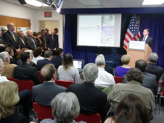 Former Westchester County Executive Robert Astorino announces the final public hearing for the development of county property at the Grasslands campus which will be use to build biotech research buildings in three phases at a press conference at the Westchester County office building in White Plains on April 3, 2017.