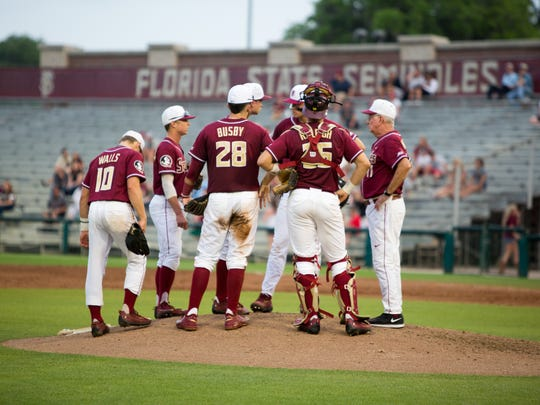 Head Coach Mike Martin reels in the Noles after allowing consecutive RBIs on Tues., April. 4 at Mike Martin Field in Dick Howser Stadium in Tallahassee, FL