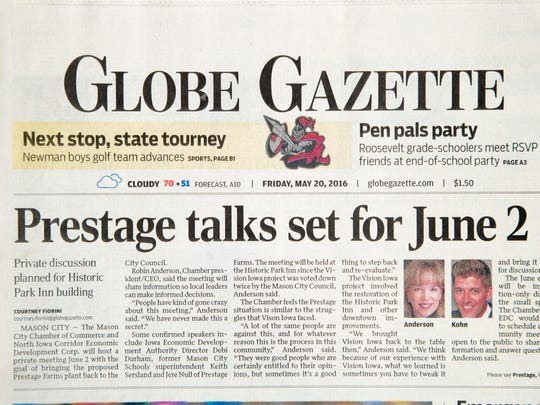 Mason City Globe Gazette headlines on the Prestage proposal.
