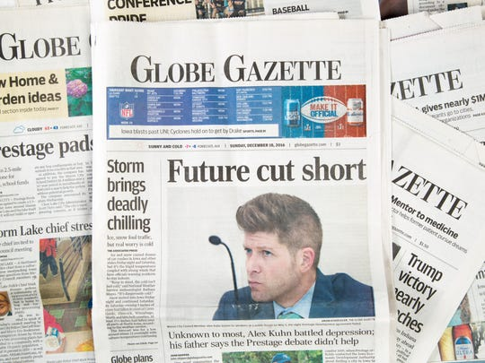 Mason City Globe Gazette story on Alex Kuhn.