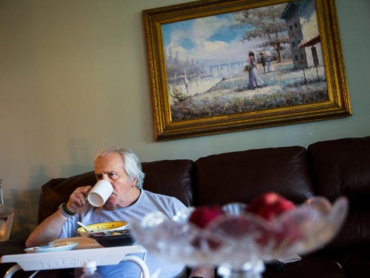 Angelo Maffucci, 84, eats lunch at his home in Naples, Florida, on Friday, April 7, 2017. The Maffuccis have been dependent on a weekly bag of food provided by the Jewish Family and Community Services of Southwest Florida for years, along with the free lunch at the Senior Center each Wednesday. Without it, given the deductibles on his medical expenses, Maffucci estimated they'd be limited to two meals a day.