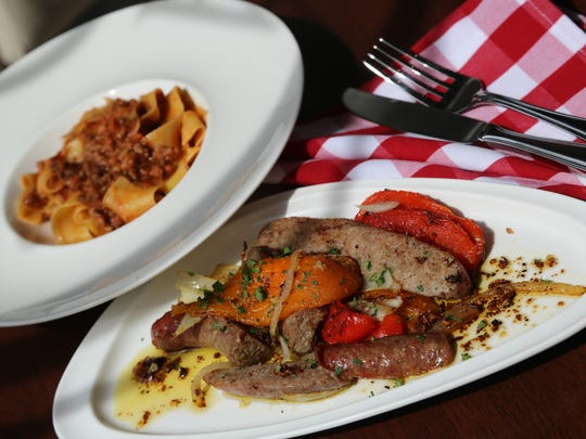 Roasted peppers with Italian sausage ($14) and tagliatelle