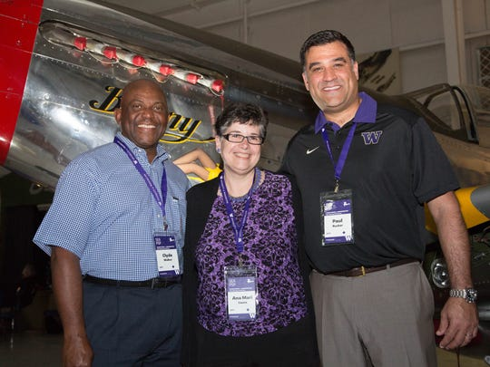 Chair UW Alumni Association Board of Director Clyde Walker, UW President Ana Mari Cauce,  Executive Director, UW Alumni Association Paul Rucker.