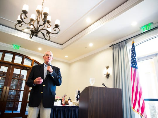 Congressman Francis Rooney speaks and answers questions on Friday, April 14, 2017 during the WomenÕs Republican Club of Naples Federated monthly meeting at the Tibur—n Golf Club in Naples.