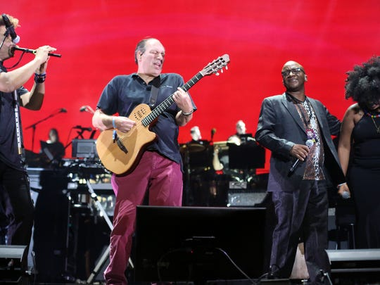 Apr 16, 2017; Indio, CA, USA; Hans Zimmer, second from the left, and his orchestra perform on the Outdoor Theatre during the Coachella Valley Music and Arts Festival at Empire Polo Club. Mandatory Credit: Richard Lui/The Desert Sun via USA TODAY NETWORK